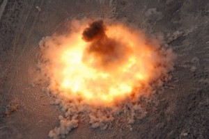 BLU 82 - Daisy Cutter - MOAB: Note the ground 'fireball' pattern with very little 'lifting' of the fireball